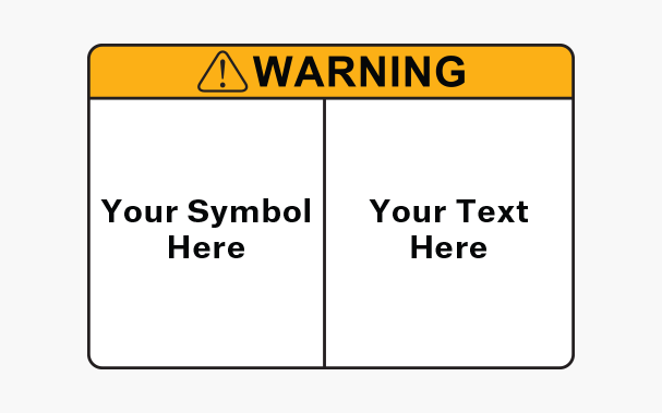 A customizable electrical warning label, with empty space reserved for unique symbols, as well as personalized text.
