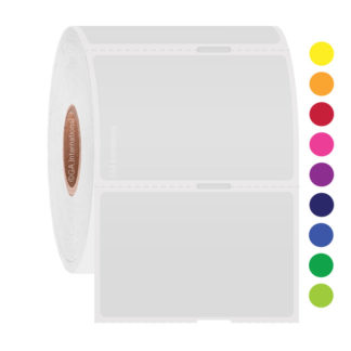 Roll of static cling color labels, adhesive-free labels